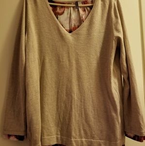Sweaters - Tan sweater with floral accents